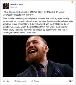 Brandon Vera Facebook Post
