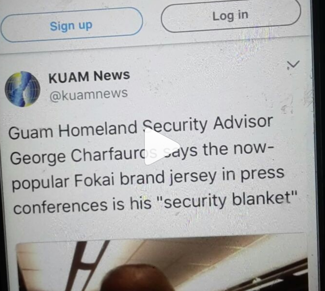 "Guam Homeland Security Advisor says Fokai Jersey is his ""Security Blanket"""